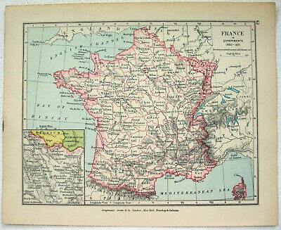 Vintage Map of France in Departments 18601871 by Longmans Green 1907