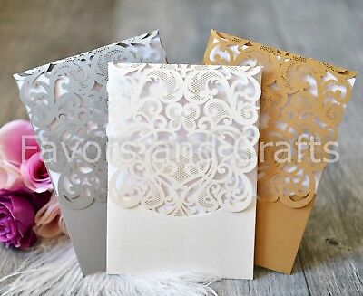 48 Laser Cut Wedding Floral Invitations Envelopes Blank Cards Boda Invitaciones  (Blank Wedding Invitations)
