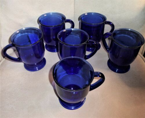 """Set of (6) Vintage Anchor Hocking 16oz Cobalt Blue Pedestal Cups Mugs 5""""T x 4""""W"""