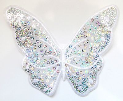 Large Sequin Butterfly Iron On Patch- Nature Embroidered Badge Applique Crafts