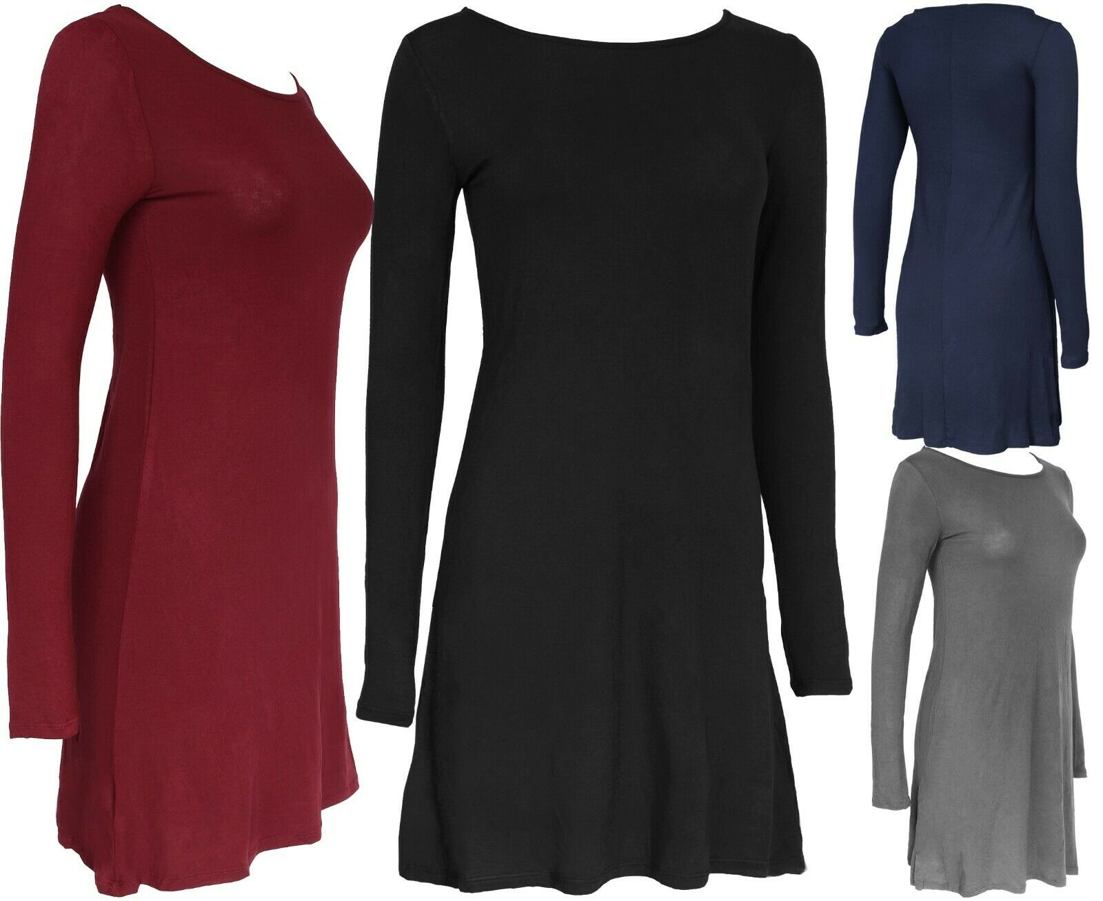 Women's Long Sleeve Round Neck Flowy Tunic Dress Clothing, Shoes & Accessories