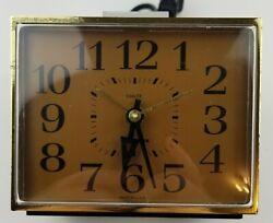 Vintage Westclox Electric Analog Alarm Clock Faux Wood Grain Retro