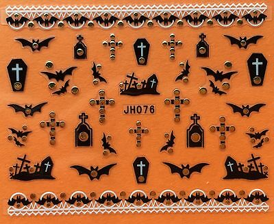 Nail Art 3D Decal Stickers Halloween Bat Coffin Graveyard Cross JH076 - Halloween Graveyards