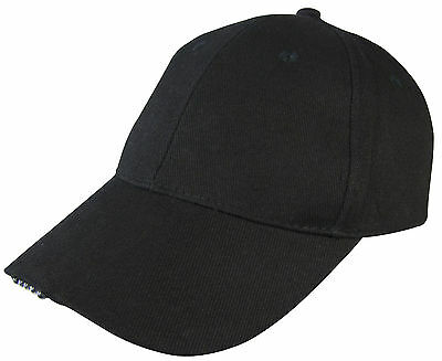 5 LED Baseball Black Cap with Lights Adjustable Strap Hat Fishing Camping Hiking