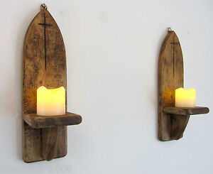 PAIR OF 30CM RECLAIMED WOOD RUSTIC GOTHIC / CHURCH WALL SCONCE CANDLE HOLDERS