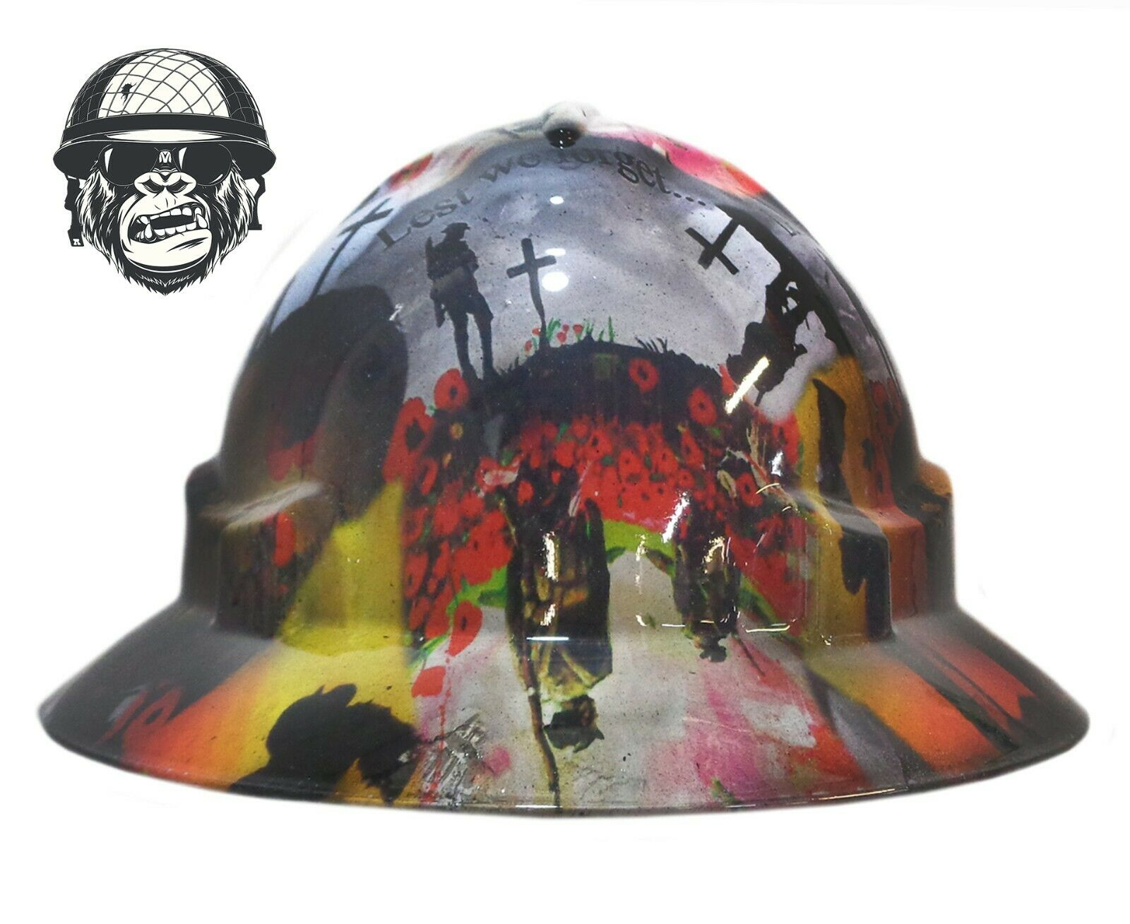 Custom Hydrographic Safety Hard Hat Industrial Mining - LEST WE FORGET WIDE