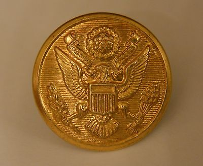 WWII US Army Eagle Overcoat Brass Button 1 1/8 inch American Emblem Co.