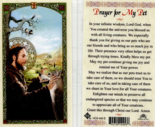 Prayer for My Pet Laminated Prayer Card Saint Francis Thank God For Our Pets