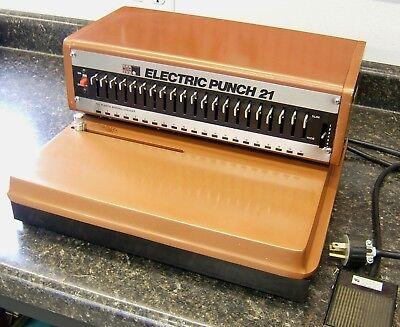 Nsc Electric Punch 21 Model 100 Heavy Duty Plastic Comb Binding Machine