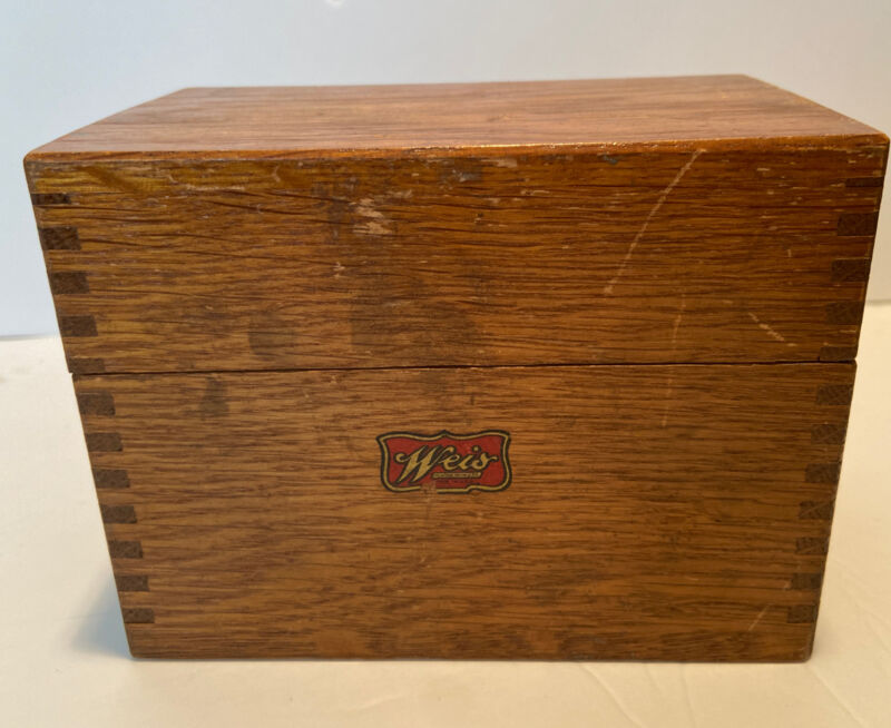 Vintage Weis Branded Wood Recipe Box with Recipes