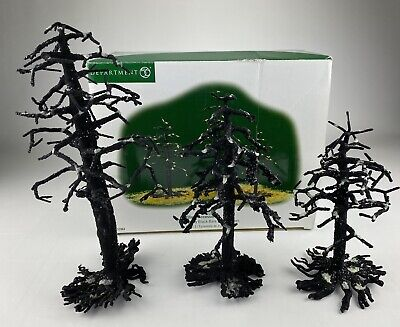 "DEPT 56 HALLOWEEN (set of 3) ""SPOOKY BLACK BARE BRANCH TREES"" #52964"