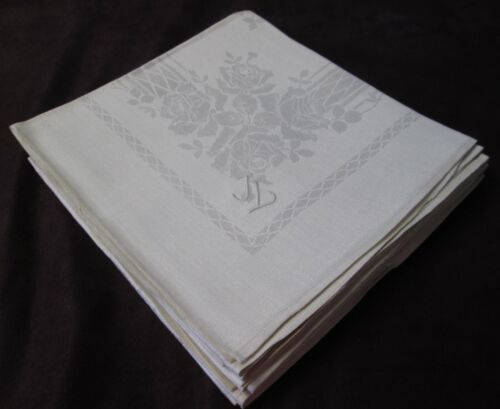 Antique 6 Linen Damask Lapkins Roses German Trousseau J L Monogram Unused