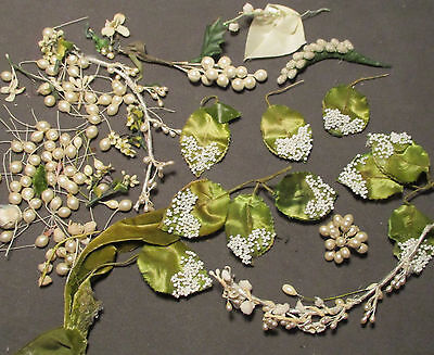 Vintage Millinery Flowers - Beaded Satin Leaves & Pearly Pips