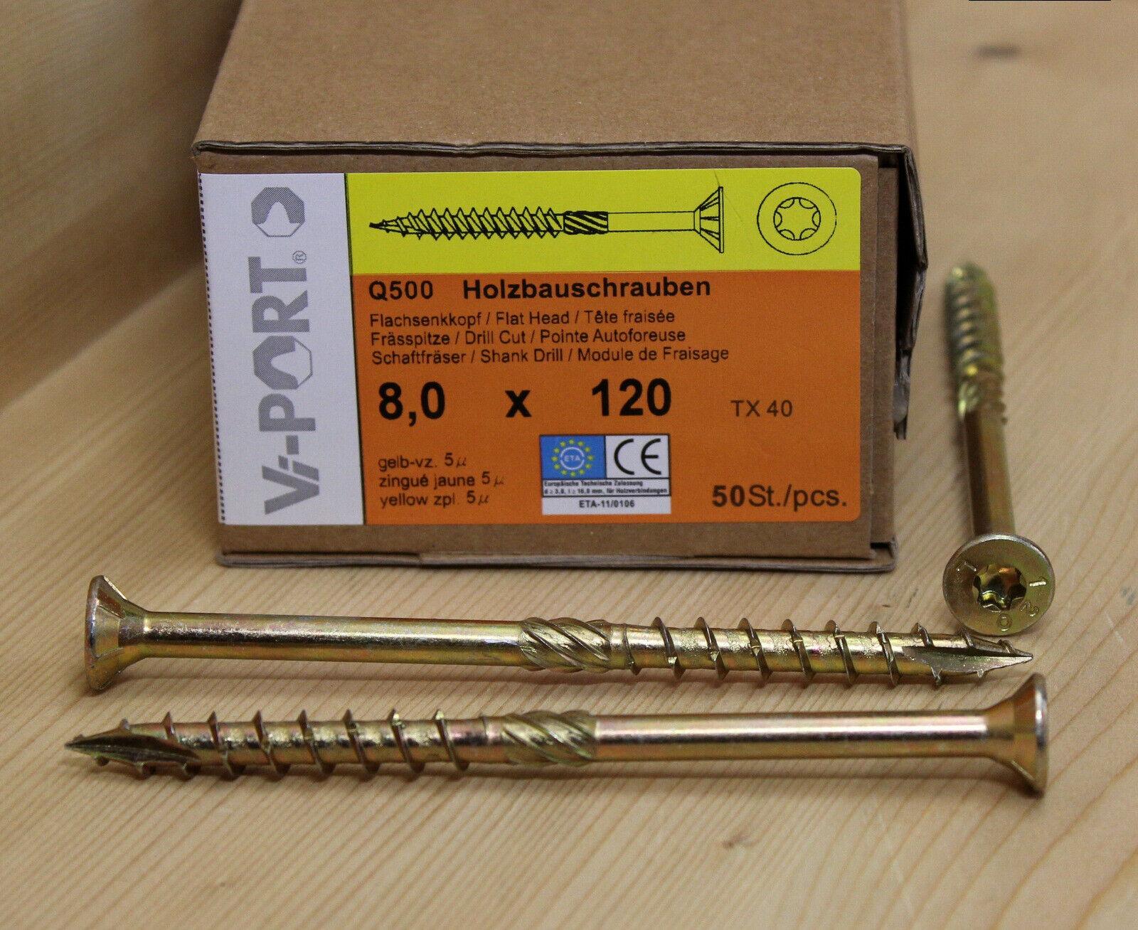 8,0 mm Vi-PORT® Senkkopf Holzbauschrauben mit EU-Zulassung Torx TX 40 gelb vz.