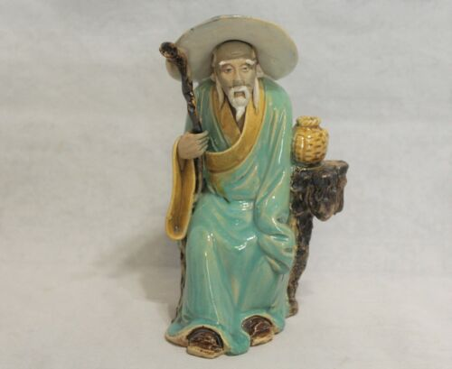 Antique/Vintage Sitting Chinese Mudman With Staff