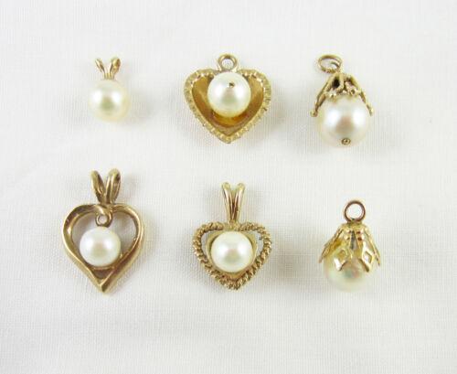 Lot 6 Vintage 14K Gold Genuine Pearl Pendants Charms Hearts 5.6 Grams Not Scrap