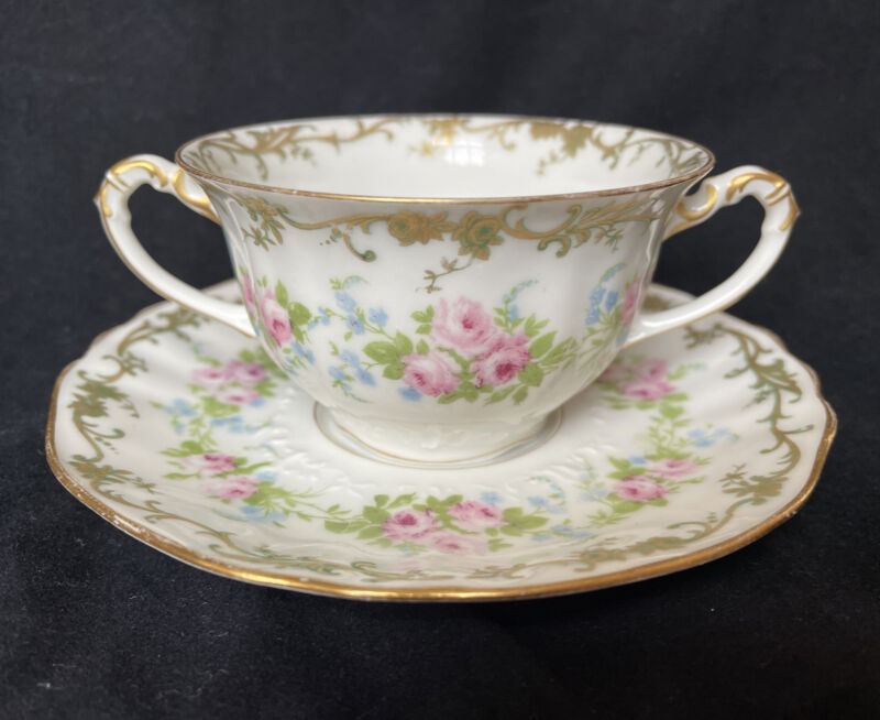 Limoges France Floral China Burley & Company for Chicago Cup and Saucer Antique