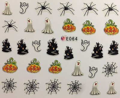 Nail Art 3D Decal Stickers Halloween Ghost Haunted House Spider Web Pumpkin E064