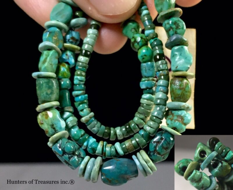 Necklace w/ Ancient Pre Columbian Turquoise Greenstone Beads Moche Native Indian