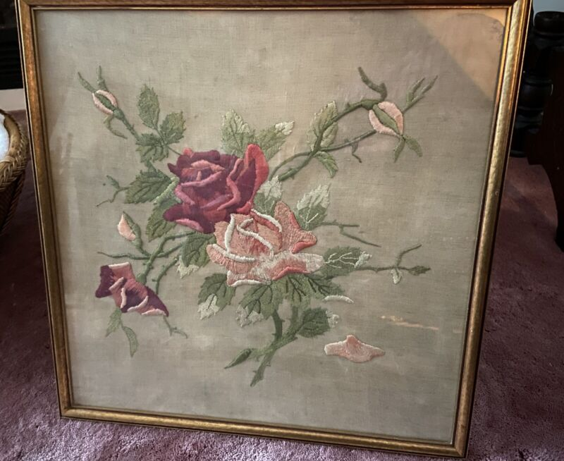 Antique Framed Victorian Embroidery Needlepoint Flowers