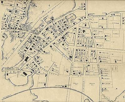 West Mystic Bridge Mystic Seaport CT1869 Maps with Homeowners Names - Mystic Bridge