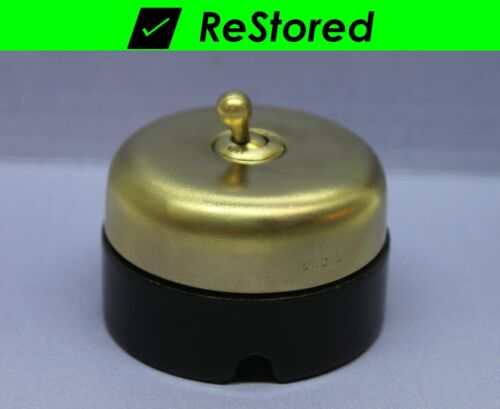 Vintage Dome Toggle Switch, Double-Pole DPST, Brass/Porcelain, Round - Hubbell