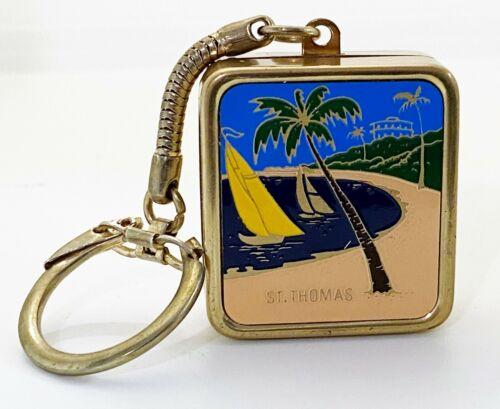 "Vintage Sankyo Music Box Key Chain Enameled St Thomas Souvenir ""Laura"