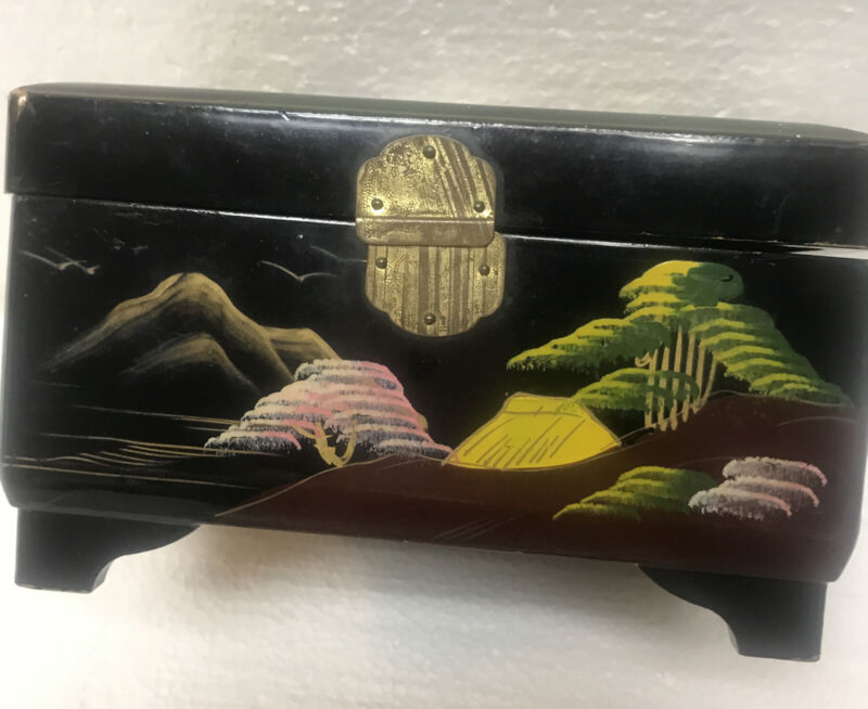 Wind Up Japanese Music Box Jewelry Box Black Lacquer Mount Fuji Hand Painted