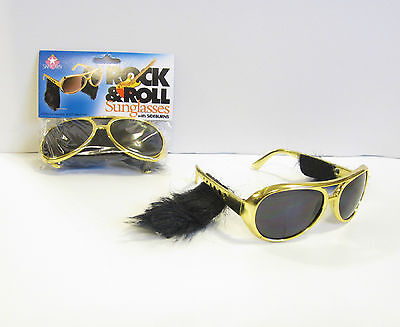 3 PAIR OF GOLD ROCK & ROLL SUN GLASSES WITH SIDEBURNS ELVIS SUNGLASSES - 3 Pair Halloween Costumes