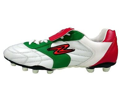 Arza Soccer Cleats Tricolor Adult Red/White/Green Leather Firm (Adult Soccer Cleats)