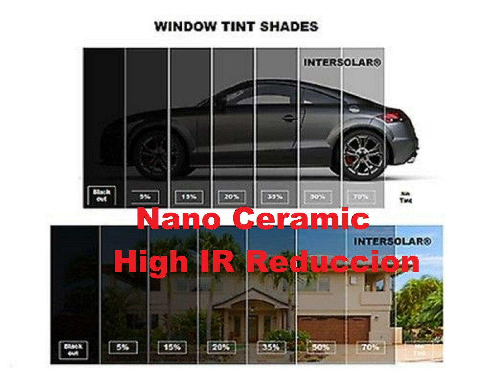 Nano Ceramic Window Film Tint 5 15 20 35 50 20 X 15 Ft Intersolar 2ply Ebay