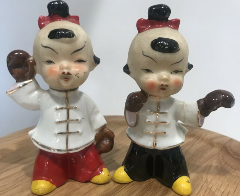 Vintage Porcelain Pair of Asian Fighting boxing Boy Figurines
