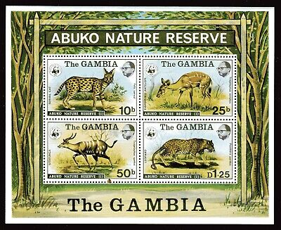 GAMBIA STAMPS #344a —  WILDLIFE (WWF) SOUVENIR SHEET -- 1976 — MINT for sale  Shipping to India