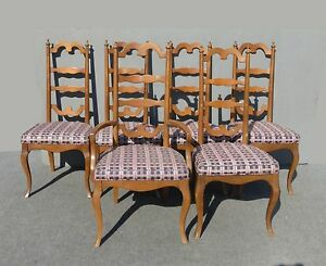 Six vintage ethan allen style mid century ladder back dining room chairs ebay - Ladder back dining room chairs ...