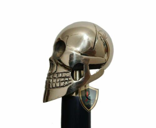 Handmade Walking Stick Solid Brass Skull Head Handle Wooden Walking Stick Cane