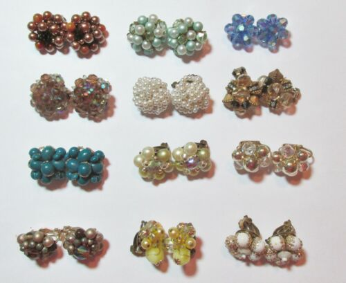 Vintage Lot All Cluster Bead Earrings Crystal