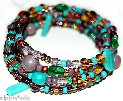 MULTICOLOR CZECH GLASS BEADED MEMORY WIRE BEAD BRACELET Made in USA #B14 Czech Glass Memory Wire Bracelet