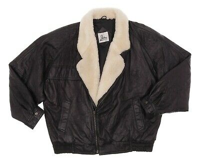 SKINS Leather Jacket L Large Womens Black SHEARLING Fur Bomber Motorcycle Jacket
