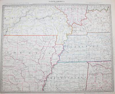 1852 Missouri Illinois Kentucky Arkansas Original Antique MAP Knight Indiana