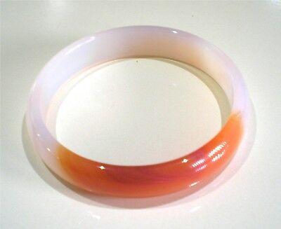 (Beautiful Genuine White & Orange Agate Bracelet 7