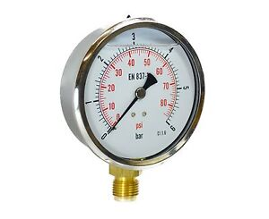 Manometro misuratore di pressione bagno glicerina antivibrante diametro 100mm ebay - Manometro in bagno di glicerina ...