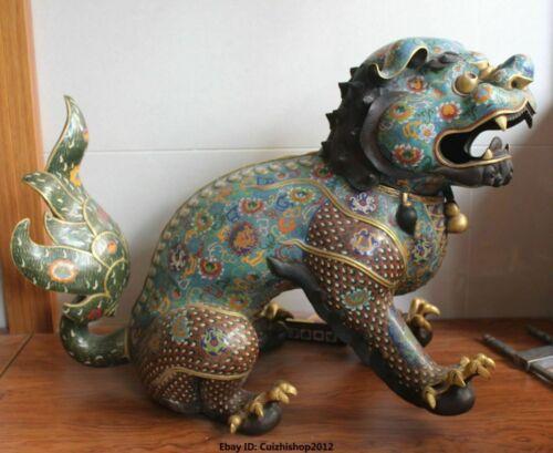 "28"" Tibetan Cloisonne Bronze 24k Gold Dragon Lion Unicorn Incense Burner Censer"