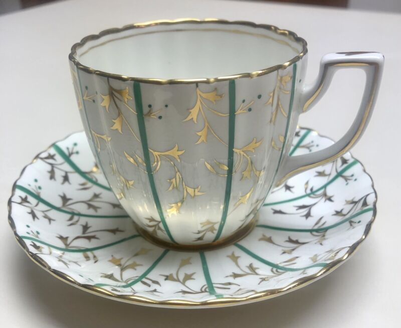 Vintage Royal Chelsea English Bone China Green and Gold Gilt Tea Cup And Saucer