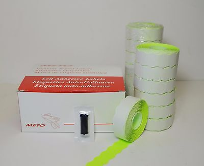 Meto Labels Green To Pricegun 1322 14rolls And Ink Roller In A Box Made In Usa