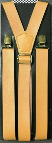 """New Punk Light Brown Pu Faux Leather Vintage Suspenders  1 """" Wide"""