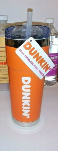 New Dunkin Donuts 24oz Tumbler Orange Stainless Steel