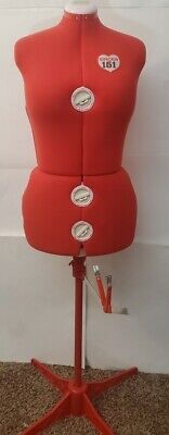 Singer Model 151 Adjustable Plus Size Red Dress Form Stand Excellent Preowned