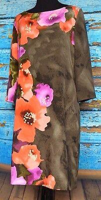 St John Sz 6 Floral Impatiens Print Dress Charmeuse Bloom Watercolor Silky Soft