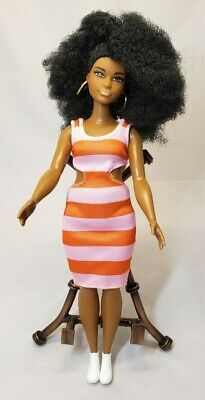 Barbie Fashionistas Doll Curvy African American Pink and Orange Cut-Out Dress