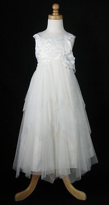 Donita Girls Ivory Tiered Tulle Party Pageant Dress Size 4 Flower Girl